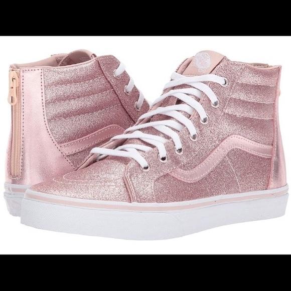 Vans SK8-Hi Zip Glitter Metallic Blush shoes NIB be905c501